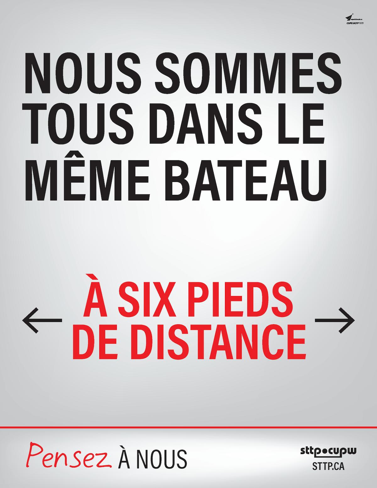 NOUS SOMMES TOUS DANS LE MÊME BATEAU - À SIX PIEDS DE DISTANCE