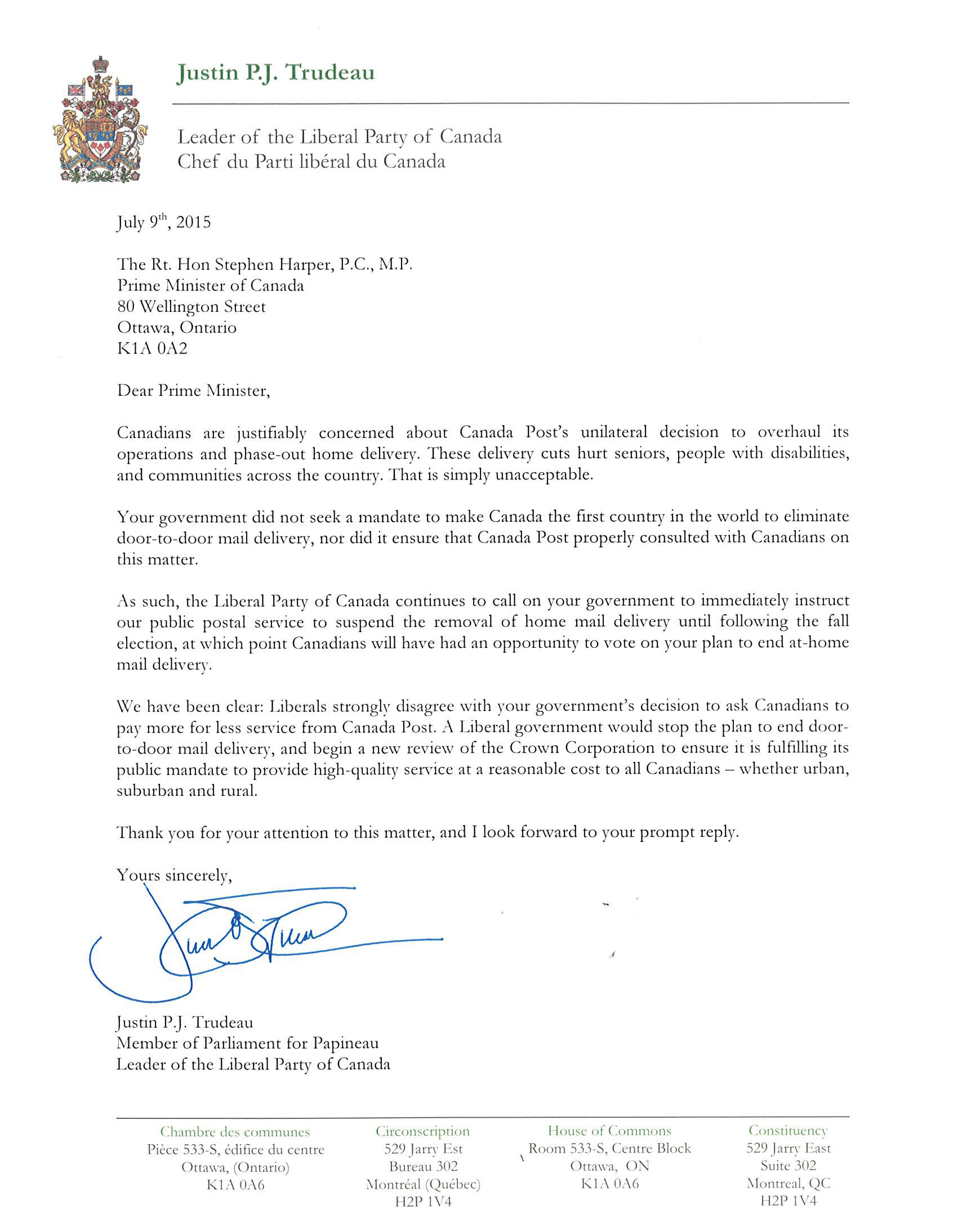 Liberal Party Letter To Prime Minister