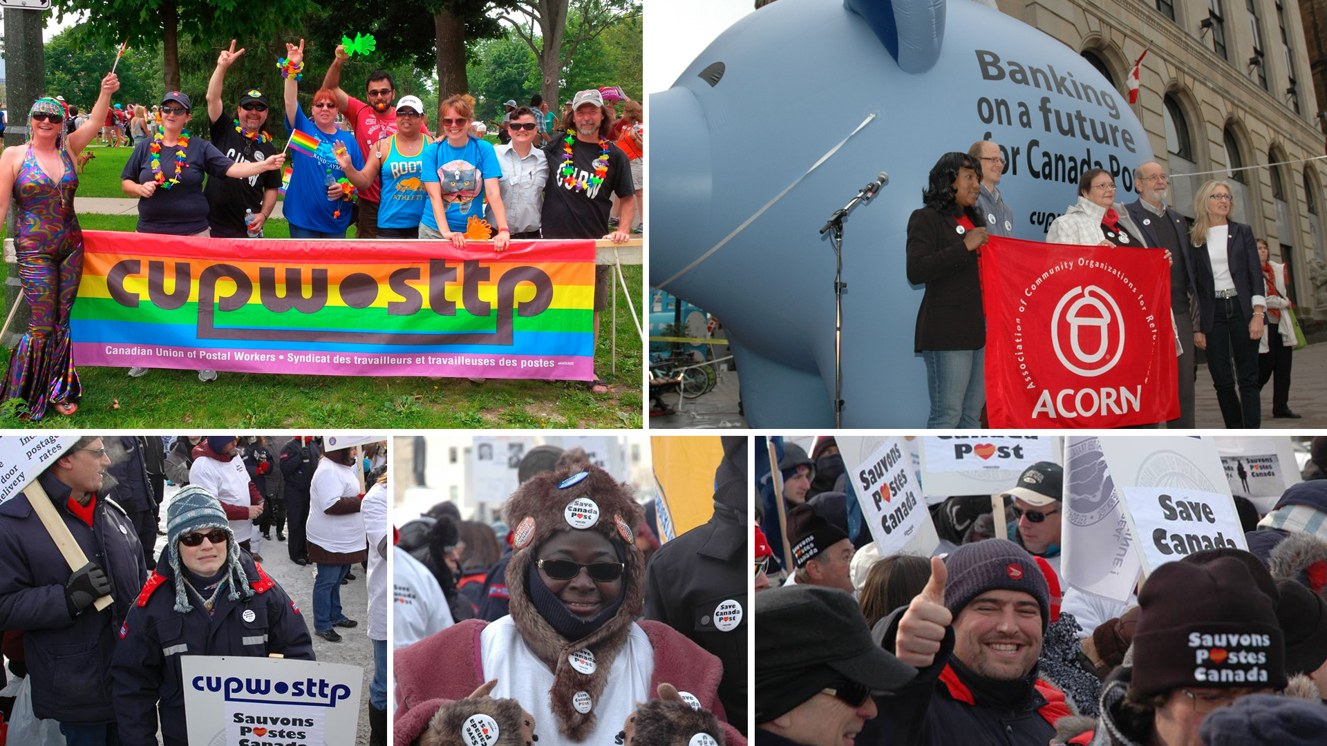 CUPW members campaigning for Pride, Parental Leave for RSMCs, and against postal service cuts.