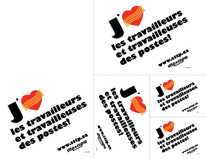 J'<3 les travailleurs et travailleuses des postes! - Affiches à imprimer et à découper (formats variés)