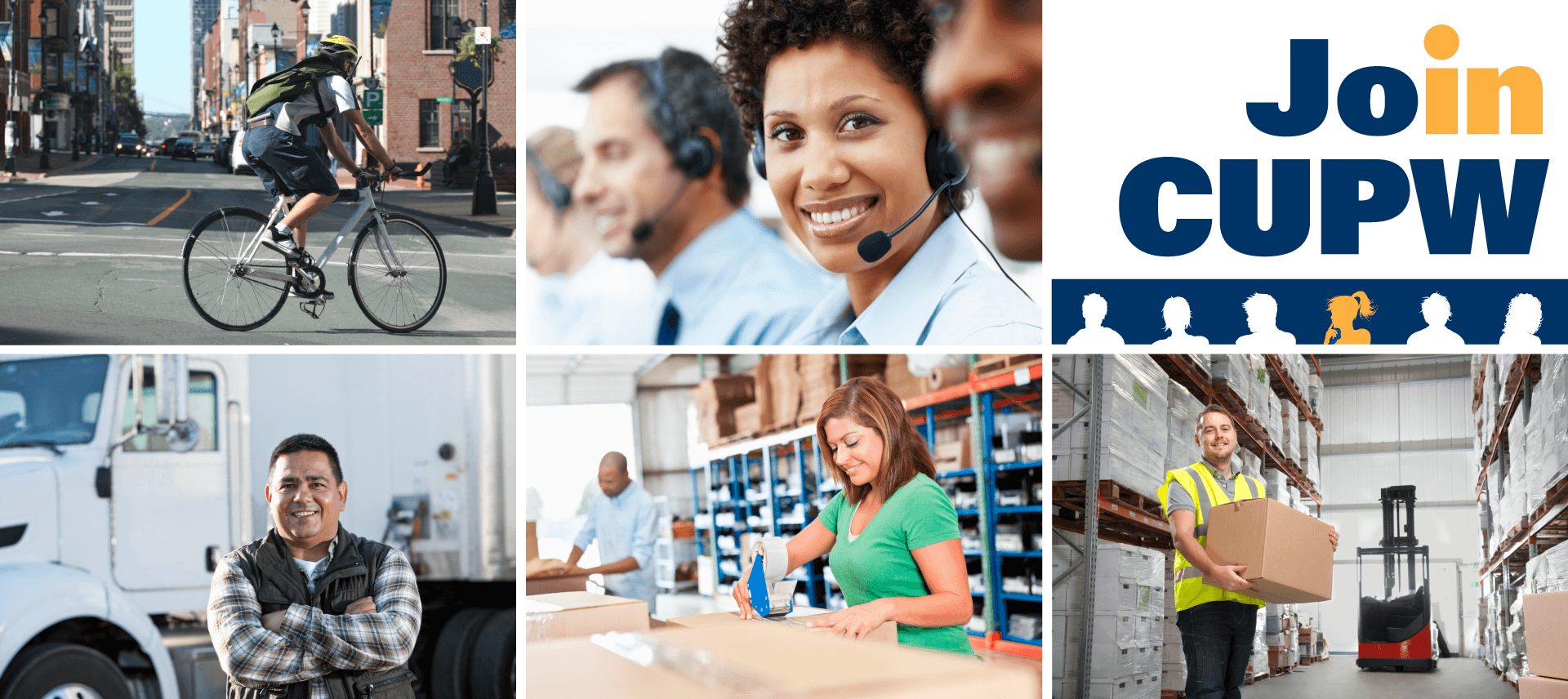 Image group: Bicycle courier, truck driver, call centre worker, warehouse workers