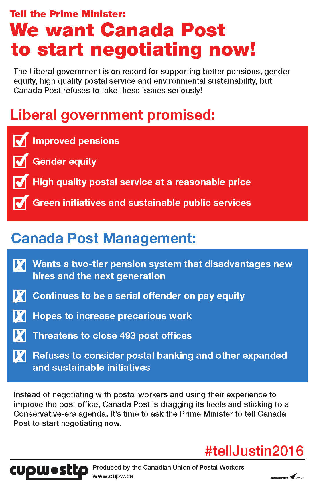 Tell the Prime Minister: We want Canada Post to start negotiating now!