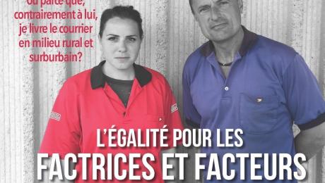 La femme en rouge effectue le même travail que l'homme en bleu, mais gagne près de 30 % de moins que lui.   Est-ce parce que je suis une femme ou parce que, contrairement à lui, je livre le courrier en milieu rural et surburbain?   L'égalité pour les FFRS