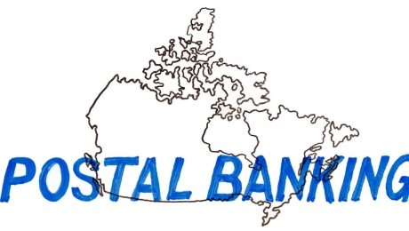 Whiteboard illustration of a map of Canada with the words Postal Banking written across it